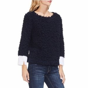 Vince Camuto • Navy Woven Cuff Popcorn Knit Top